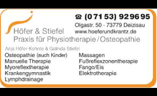 Höfer & Stiefel, Praxis für Physiotherapie / Osteopathie