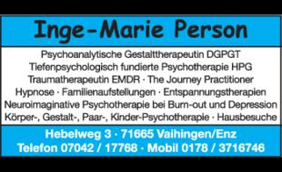 Person Inge-Marie, Psychoanalytische Gestalttherapeutin