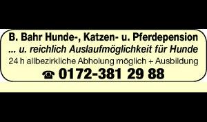 Logo von Bahr B. Hunde-, Katzen- und Pferdepension
