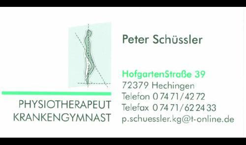 Schüssler Peter Physiotherapeut Krankengymnast