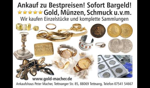 Ankauf von Gold, Münzen, Schmuck, Bestpreise Peter Macher