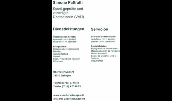 Logo von SPANISCH Urkunden + Fachübersetzungen Dipl.Biol. S. Paffrath