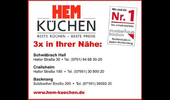 ➤ HEM Küchen HCM KÜCHENSTUDIO GMBH 74564 Crailsheim Öffnungszeiten ...