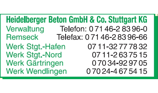 Heidelberger Beton GmbH & Co. Stuttgart KG