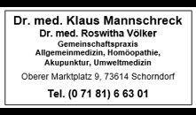 Dr.med. Klaus Mannschreck, Dr. med. Roswitha Völker