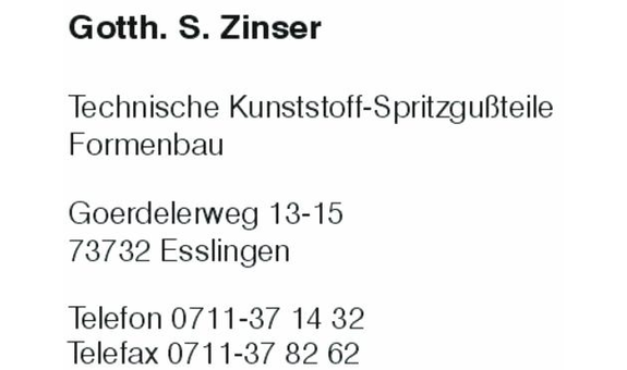 Zinser Gotth. S.