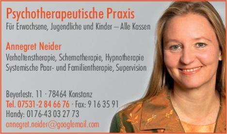 Frau Dipl.-Psych. Annegret Neider