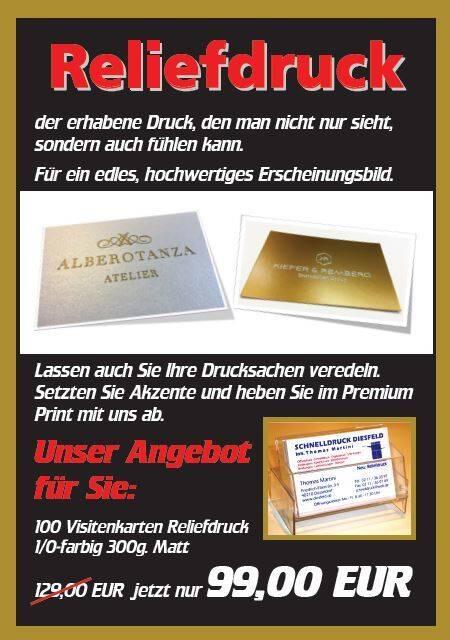Aktuelle Angebote Sonstiges Reliefdruck 100 Visitenkarten