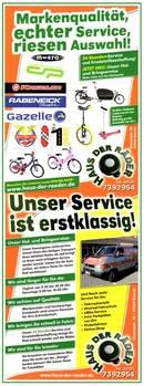 Wir machen Ihr Fahrrad startklar für diese Saison ab 35,-€
